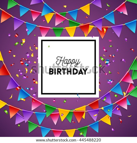 Happy birthday greeting card background design template in purple with streamers and triangular flags - stock vector