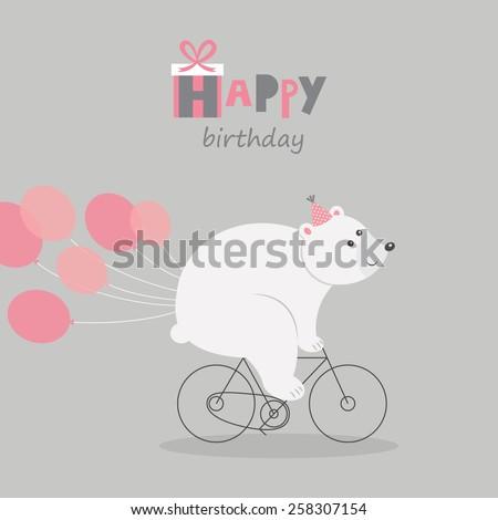 happy birthday greeting card bear. vector illustration - stock vector