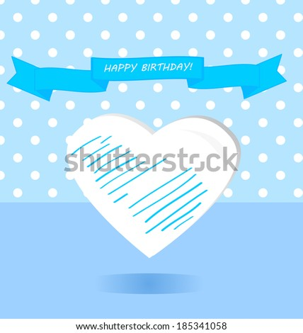Happy birthday greeting card. Blue ribbon white heart polka dots background for girl. Vector illustration design elements - stock vector
