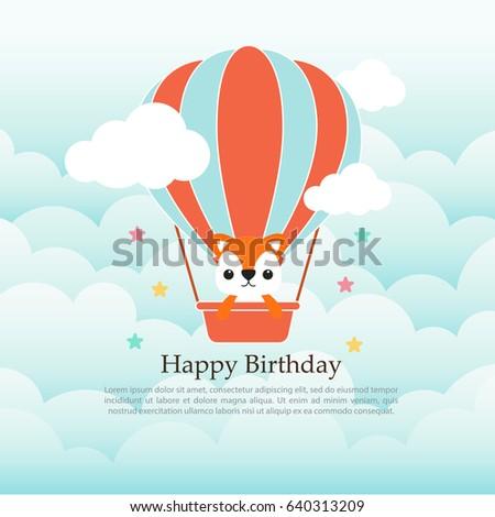Happy birthday greeting card cute animal stock photo photo vector happy birthday greeting card cute animal cartoon in hot air balloon bookmarktalkfo Image collections