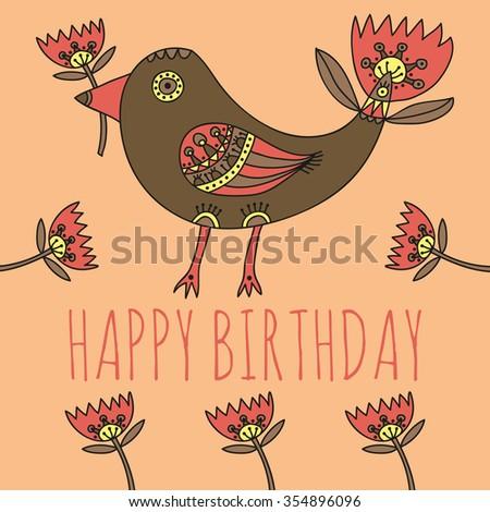 Happy Birthday Greeting Card Cute Bird Vector 354896096 – Cute Birthday Greeting Cards