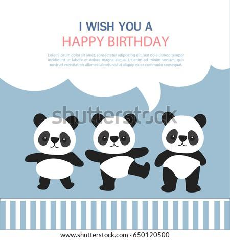 Happy birthday greeting card cute panda stock vector 650120500 happy birthday greeting card cute panda cartoon bookmarktalkfo Image collections