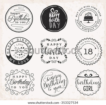 Happy Birthday Greeting Card Design Elements, Badges and Labels in Vintage Style