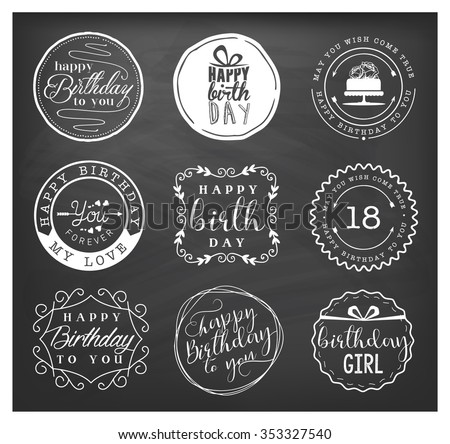 Happy Birthday Greeting Card Design Elements, Badges and Labels in Vintage Style - stock vector