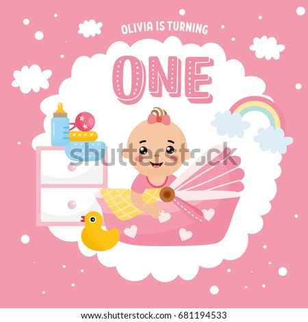 Happy Birthday Greeting Card Design Frame With Cute Baby Girl In A Cradle