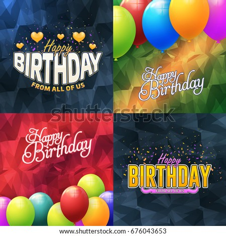 Happy Birthday Greeting Card Design, Multicolored Low Poly Background Set