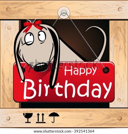 Happy Birthday greeting card dog smile - stock vector