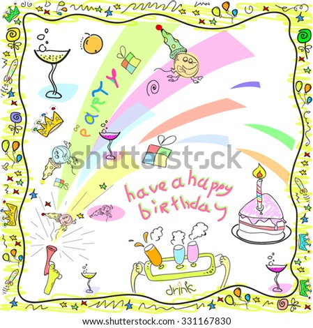 Happy birthday greeting card drawing doodles stock vector royalty happy birthday greeting card drawing in doodles m4hsunfo