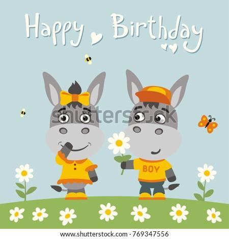 Happy Birthday Greeting Card Funny Donkey Stock Vector 769347556