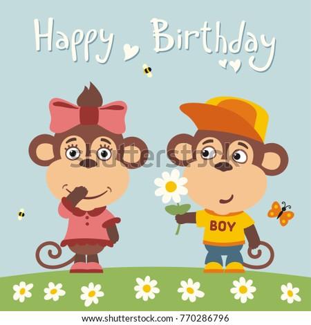 Happy birthday greeting card funny monkey stock vector 770286796 greeting card funny monkey boy gives flower to girl m4hsunfo