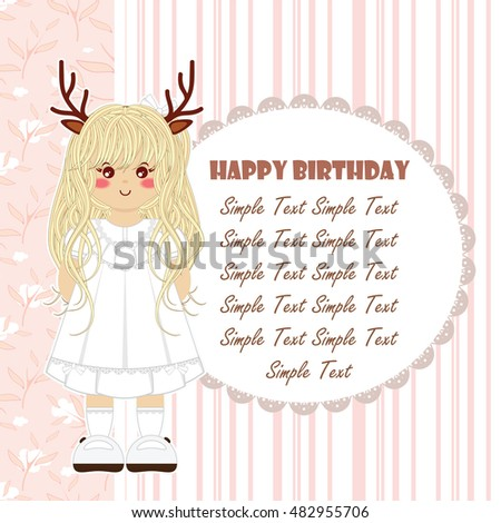 Happy birthday greeting card kawaii forest stock vector 482955706 happy birthday greeting card kawaii forest deer girl with vintage lace dress tender childish bookmarktalkfo Image collections