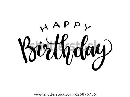 Happy Birthday Greeting Card Modern Calligraphy Stock