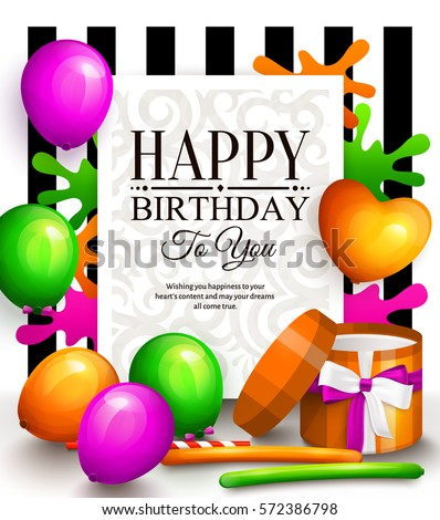 Happy birthday greeting card. Party multicolored balloons, wrapped gift box, paint splash and stylish lettering. Striped background. Vector.