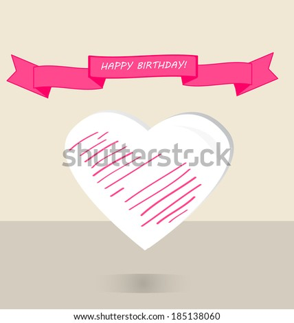 Happy birthday greeting card. Pink ribbon white heart for girl. Vector illustration design elements - stock vector