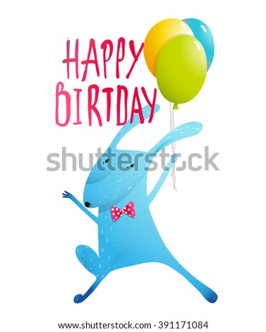 Happy Birthday greeting card. Rabbit congratulating with balloons and bow tie humorous character kids design. Vector illustration. - stock vector