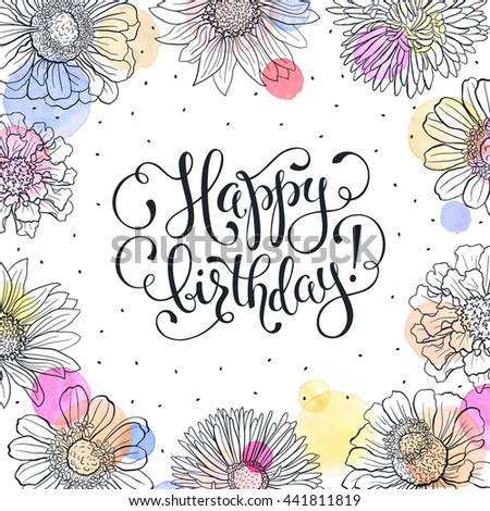 Happy birthday greeting card sketch flowers stock vector 2018 happy birthday greeting card sketch flowers frame with watercolor spots on white background birthday m4hsunfo