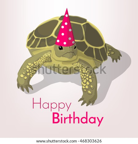Happy birthday greeting card tortoise colorful stock vector happy birthday greeting card tortoise in a colorful party cap casts a shadow on white bookmarktalkfo Images