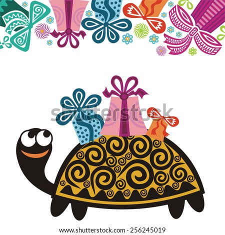 Happy Birthday Greeting Card Turtle Gifts Stock Vector 256245019