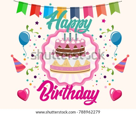Happy Birthday Greeting Card Typography Gift Stock Vector 788962279
