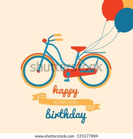 happy birthday greeting card. vector illustration - stock vector