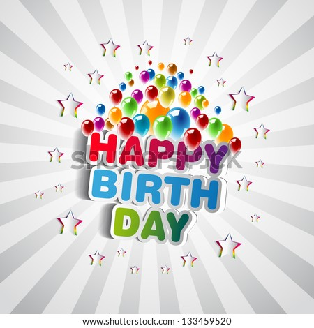 Happy Birthday Greeting Card - Vector Illustration - stock vector