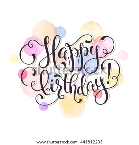 Happy birthday greeting card watercolor spots stock vector 441812203 happy birthday greeting card watercolor spots in pastel color isolated on white background with text m4hsunfo