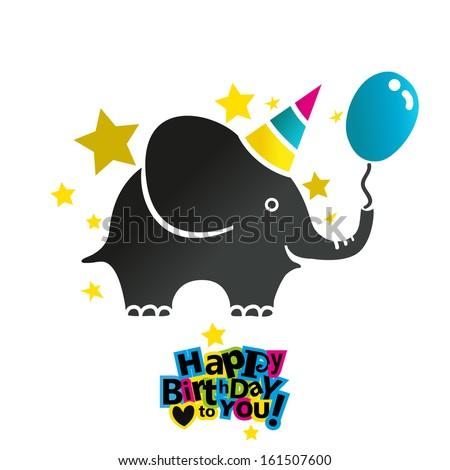 Happy birthday greeting card with baby elephant - stock vector