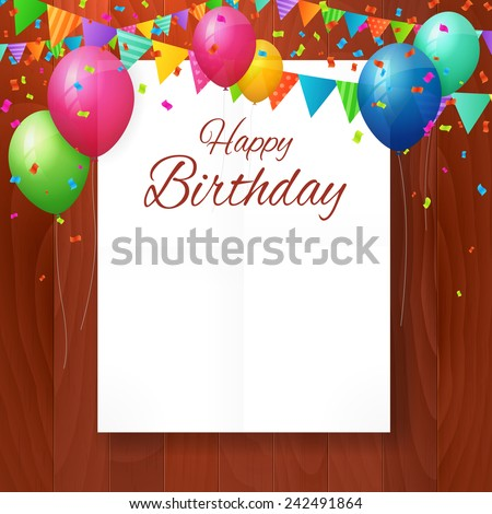 Happy birthday greeting card with balloons and flags on wood background. isolated from background. layered - stock vector