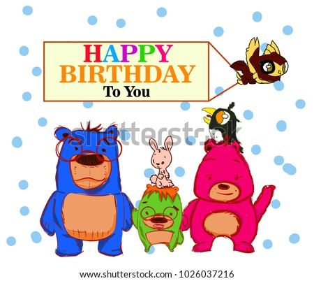 Happy birthday greeting card bear family stock vector 1026037216 happy birthday greeting card with bear family m4hsunfo