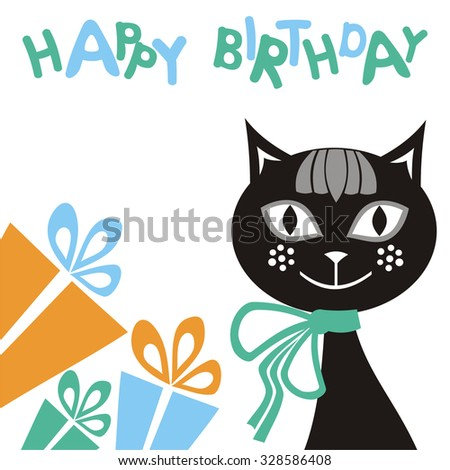 Happy birthday greeting card with beautiful cat and gifts vector illustration - stock vector