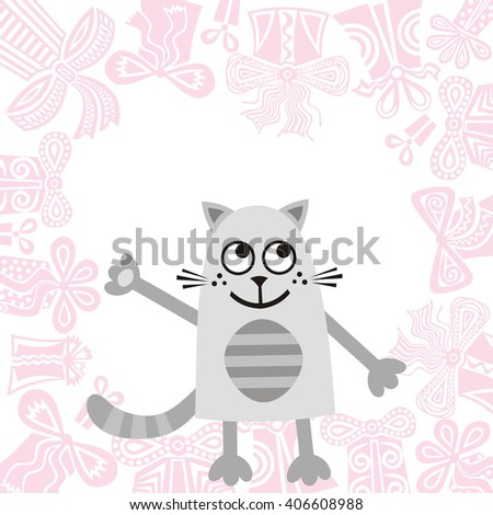 Happy birthday greeting card with beautiful cat vector illustration - stock vector