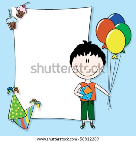 Happy birthday greeting card with blank place for your wishes and message - stock vector