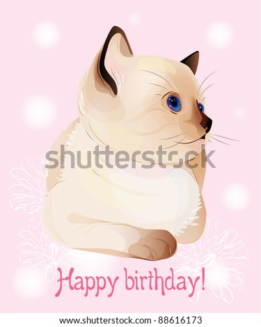Happy birthday greeting card  with  blue-eyed  little Siamese  kitten on the pink background.  Watercolor style. - stock vector