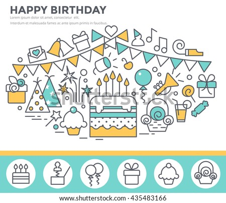 Happy Birthday Greeting Card Cake Party Vector 435483166 – Happy Birthday Greeting Photo