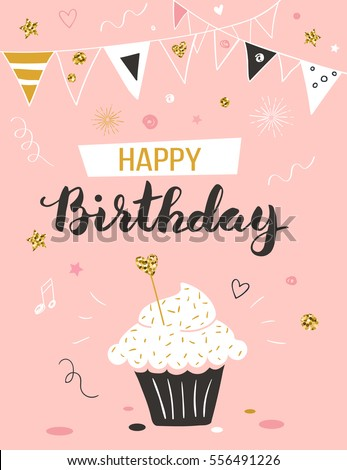 Happy birthday greeting card cupcake text stock vector royalty free happy birthday greeting card with cupcake and text m4hsunfo