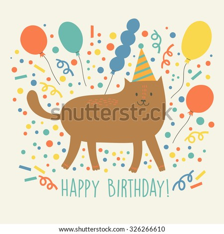 Happy birthday greeting card with cute funny cat and baloons. Vector illustration. - stock vector