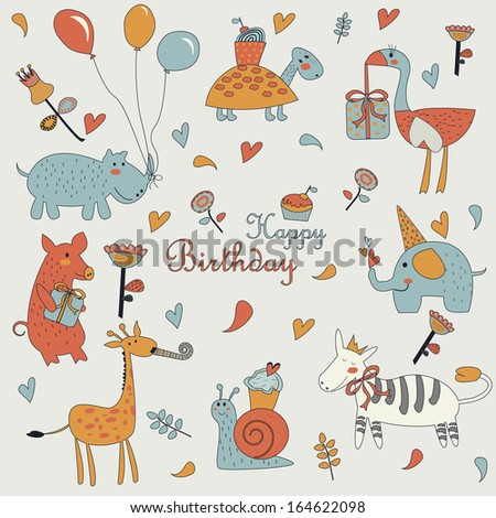 Happy birthday greeting card with cute giraffe, snail, pig, elephant, zebra, ostrich, turtle and hippo with balloons in cartoon style. Birthday party with balloons, cupcakes, gifts and flowers. - stock vector