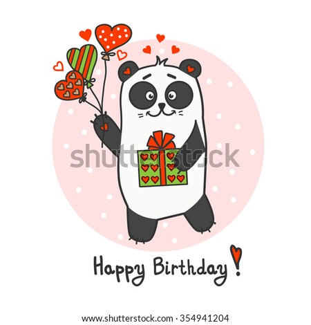 Happy Birthday greeting card with cute little panda - stock vector
