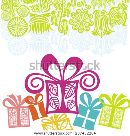 Happy birthday greeting card with gifts vector illustration - stock vector