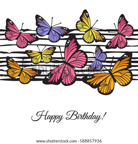 Happy Birthday Greeting Card Hand Drawn Stock Vector 588857936 Happy Birthday Wishes Butterfly