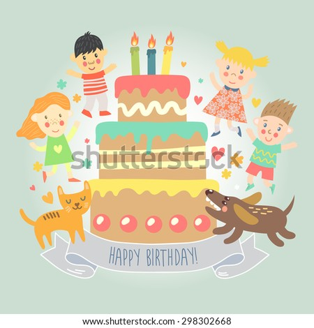 Happy Birthday greeting card with kids, cat and dog dancing around Birthday cake. Vector illustration in cartoon style. - stock vector