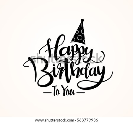 Happy Birthday Greeting Card Lettering Design Stock Vector 563779936