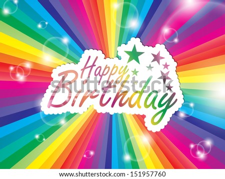 Happy Birthday  greeting card, with space for text on a multicolored background. (EPS10 Vector) - stock vector