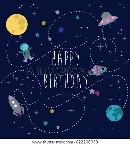 Happy Birthday Greeting Card Space Planet Stock Vector ...