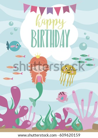 Happy birthday greeting invitation card template stock vector happy birthday greeting or invitation card template with cute mermaid and sea animals vector illustration stopboris Choice Image