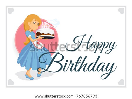 Happy birthday greeting template cartoon little stock vector happy birthday greeting template cartoon little girl with long blond hair in blue dress blowing m4hsunfo Choice Image