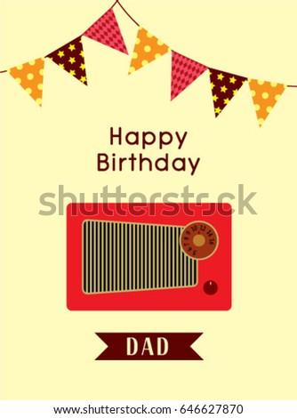 Happy birthday greeting dad vintage radio stock vector 2018 happy birthday greeting to dad with vintage radio graphic m4hsunfo