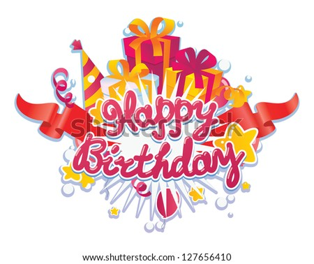 Happy Birthday Greetings Card Design Element Stock Vector Hd