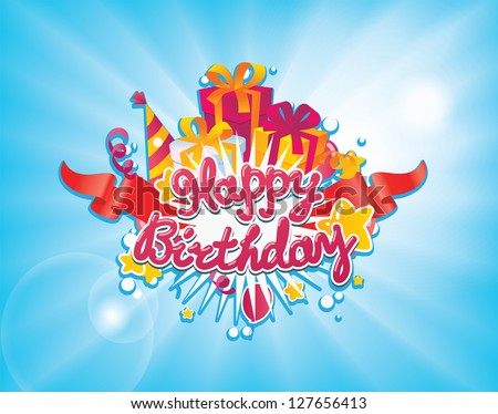 happy birthday greetings card design. Vector background