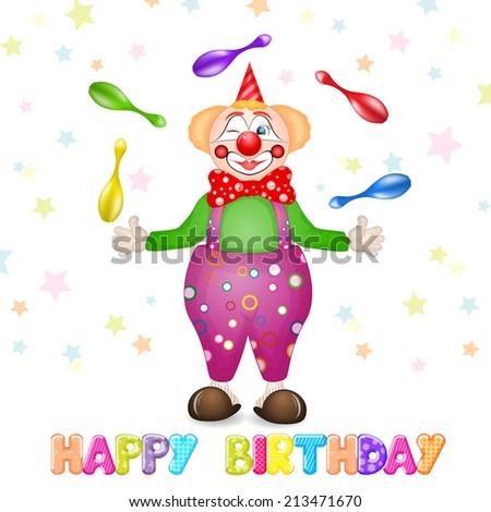 Happy birthday greetings. Cute happy birthday card with fun clowns - stock vector